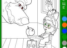 Coloreaza Masha si Profesorul Urs