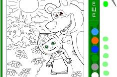 Coloreaza Masha si Ursul in Padure…