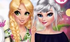 Elsa si Rapunzel Dragute cu Flori
