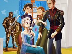 Familia Frozen Decoreaza Castelul