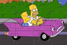 Familia Simpson Puzzle cu Masini