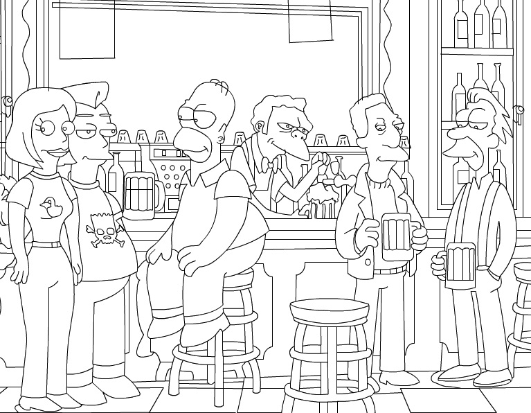 Homer in Bar de Colorat
