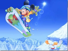 Mickey Mouse cu Snowboardul Puzzle