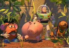 Prietenii din Toy Story in Gradina
