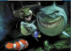 Puzzle cu Marlin si Dory si Rechinii
