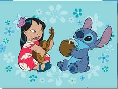 Puzzle cu Stitch si Lilo Cantand