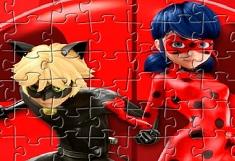 Puzzle cu Supereroii Buburuza si Motan Noir