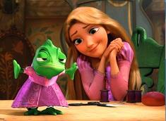 Rapunzel si Pascal Puzzle Dragut