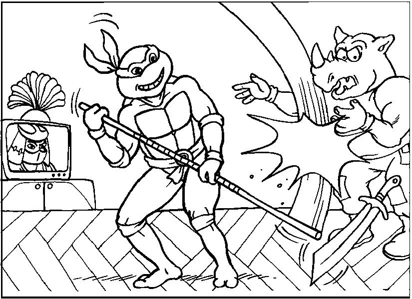 Testoasele Ninja Lupta Cu Rinocerul Jocuri Cu Testoasele Ninja